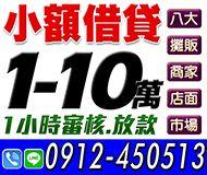 【一小時內審核放款】小額借貸 | 1-10萬 八大店面商家攤販市場【即樂貸】